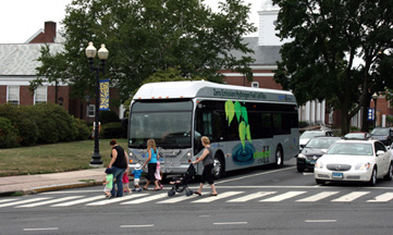 Hybrid bus in Blue Back Square in Hartford, CT